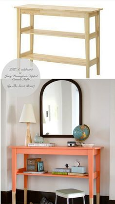 Gorgeous peach console table IKEA hack