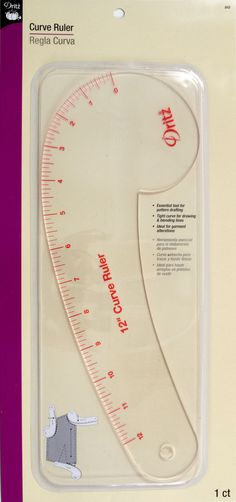 The 12inches Curve ruler has a strong tight curve designed to help draw a smooth line for pattern drafting, altering flat patterns and alterations Uses for ruler: Necklines, Armholes, Sleeve Caps, Col