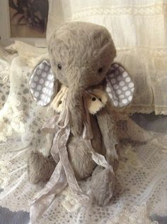 Handmade Vintage style viscose artist bear gray elephant by Olive Grove Primitives on Etsy, £51.87