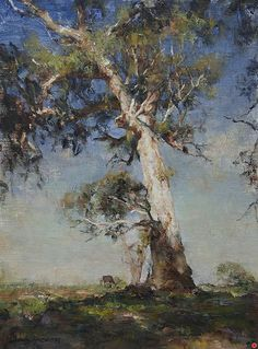Vintage French Soul ~ The Clearing - Oil, John McCartin (beautifully painted tree) Australian Painting, Australian Artists, Landscape Art, Landscape Paintings, Watercolor Trees, Oil Painting Trees, Wow Art, All Nature, Tree Art