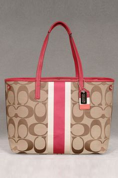 coach black purse outlet xwct  Coach Hamptons Weekend Signature Stripe Tote In Khaki & Berry