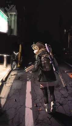 anime personagens machine gun and sniper rifle night scout girl Fanarts Anime, Anime Characters, Manga Anime, Anime Military, Military Girl, Illustration Girl, Character Illustration, Original Anime, Guerra Anime