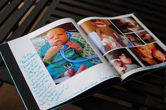 photo book with white space for party guests to write in - LOVE this idea!