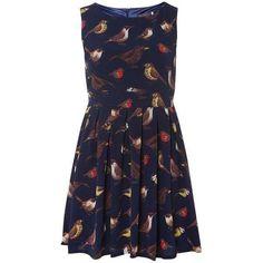 **Tenki bird Print Dress ($36) ❤ liked on Polyvore featuring dresses, blue dress, blue color dress, bird pattern dress, tenki dresses and bird print dresses
