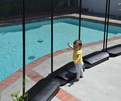 Temporary pool fencing can be useful when you are not allowed to drill holes in your ground. Our NO HOLES pool fence is removable and very safe. Diy Pool Fence, Fence Landscaping, Backyard Fences, Pool Backyard, Wedding Backyard, Modern Backyard, Front Yard Fence, Fenced In Yard, Temporary Pool Fencing