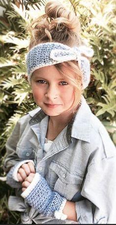 Head Band Fingerless Gloves, Raven Set by Ava Girl Design - Craftsy Knitting For Kids, Crochet For Kids, Loom Knitting, Crochet Scarves, Crochet Clothes, Crochet Hats, Crochet Headbands, Crochet Accessories Free Pattern, Crochet Patterns