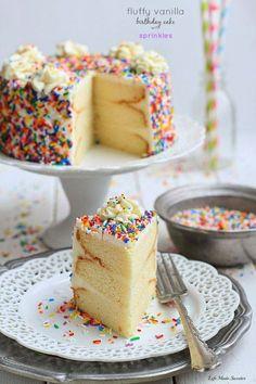 My favorite Vanilla Birthday Cake with Vanilla Bean Frosting --- via @LifeMadeSweeter.jpg