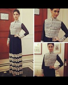 Tamannaah looked lovely for her film Entertainment's promotions. For the grand premiere of Entertainment in Delhi, she opted for a traditional look in a Manish Malhotra midnight blue and white embroidered anarkali. She kept the styling simple with a pulled back hairdo and dainty earrings.