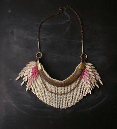 ombre fringe necklace - the no. 021- lace necklace- spring 2013. $45,00, via Etsy. #bijoux #bijouxcreateur #bijouxfantaisies #paris #tendancesbijoux2016