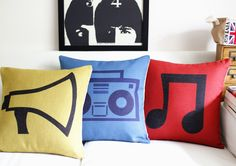 Red Yellow Blue Music notes recorder burlap decorative throw pillow cushion covers