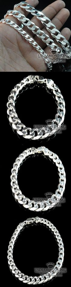 Men Jewelry: Men S Womens Real Sterling Silver 925 Cuban Curb Link Bracelet 7Mm ~ 11Mm 9~9.5 -> BUY IT NOW ONLY: $69.99 on eBay!