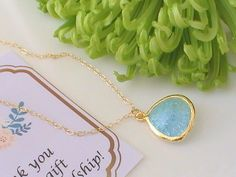 Aquamarine Necklace Gold Delicate Necklace by Crystalshadow