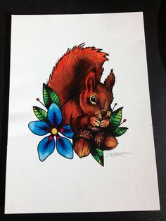 Squirrel tattoo design but inside one of the acorns it will say Coud:)