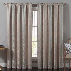 Vcny Home Madeline Traditional Damask 84 inch Length Rod Pocket Top Window Curtains, Multiple Colors Available, Beige