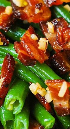 Garlic and Bacon Green Beans  ❤❤♥For More You Can Follow On Insta @love_ushi OR Pinterest @ANAM SIDDIQUI ♥❤❤