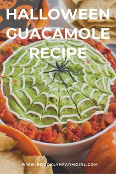Easy to make Halloween Guacamole Dip with sour cream spiderwebs on top.  This homemade recipe uses fresh avocados and diced tomatoes for a healthy party dip! Mexican Appetizers, Halloween Appetizers, Healthy Mexican Casserole, Beef Quesadillas, Guacamole Dip, Vegetable Pie, Cheesy Chicken Enchiladas, Vegetarian Mexican, Deserts