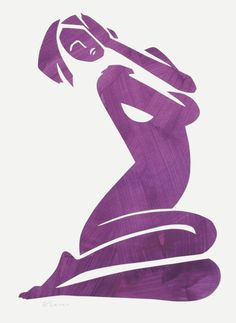 ARTFINDER: Esther in Purple by Elizabeth Lever - A beautiful original cut-out of an abstract nude. The nude figure is meticulously cut by hand from painted paper, before being mounted on crisp off-white pap...