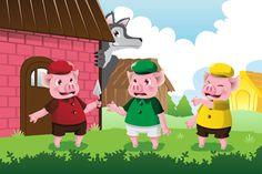 O filho quer dormir e pede ao pai (engenheiro) para contar uma história e ele conta a dos três Porquinhos.