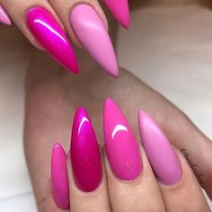 How can just pink nails look so cool. Love this custom pink combo YN Distributor created. Get this type of look with ManiQ Magenta Go Time She's A Pistol and Nom Nom. Pink Stiletto Nails, Sparkly Nails, Sexy Nails, Hot Nails, Pink Nails, Hair And Nails, Magenta Nails, Color Magenta, Fabulous Nails