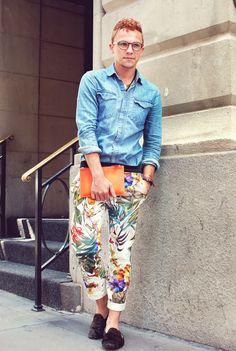 Fashion blogger Justin Livingston of Munrowe in Men's Zara Floral Pants