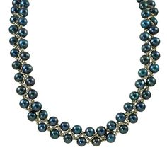 7.0-9.0mm Dyed Cobalt Blue Cultured Freshwater Pearl and Sterling Silver Woven Necklace - View All Necklaces - Zales $169