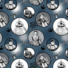 Star Wars™ The Force Awakens: Iron Badges Fabric- Applique these badges onto children's clothing, or stitch this fabric into a quilt. It features Star Wars characters Rey, Poe, Finn, and Chewbacca. Circles up to across on a gray background. Star Wars Fabric, Fabric Stars, Cotton Quilting Fabric, Cotton Quilts, Fabric For Sale Online, Cotton House, Keepsake Quilting, Star Wars Collection