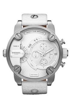 DIESEL 'Little Daddy' Chronograph Leather Strap Watch, 51mm gifters.com deisel watches