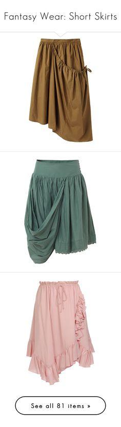 """Fantasy Wear: Short Skirts"" by savagedamsel ❤ liked on Polyvore featuring skirts, bottoms, faldas, drawstring skirt, ruched skirt, brown skirt, asymmetrical hem skirt, gathered skirt, saias and allsaints"