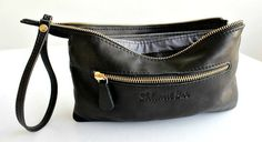 Black leather wristlet wallet , Leather wallet womens in black , Leather wristlet clutch °º©©º°¨¨¨¨¨¨°º©©º°¨¨¨¨¨¨°º©©º°¨¨¨¨¨¨°°º©©º°¨¨¨¨¨¨°º©©º°¨¨¨¨¨¨  Very soft black leather wallet clutch with strap. An everyday wallet or as a night out clutch.  Great size to carry your phone, change, credit cards checkbook and keys. Made of highest quality softest Italian leather and best rustproof metal parts.  * Top golden zipper closure. * Strap connected to zipper slider. * Outer zipper pocket. * YKK…