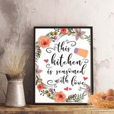 """""""this kitchen is seasoned with love"""" Kitchen Printable - spoonyprint Printables, Seasons, Love, Frame, Kitchen, Decoration, Design, Home Decor, Watercolor Painting"""