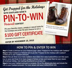 """Enter Eastland Shoe's """"Get Prepped for the Holidays"""" Pin-to-Win contest for a chance to WIN A GIFT CERTIFICATE toward any purchase on EastlandShoe.com"""