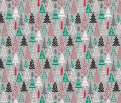 Christmas Forest Trees on Grey fabric by caja_design on Spoonflower - custom fabric