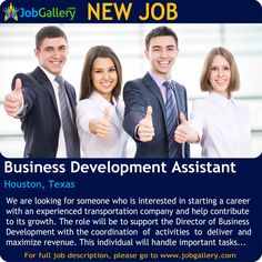 SEEKING A BUSINESS DEVELOPMENT ASSISTANT IN HOUSTON, TEXAS #Job #NewJob #Jobs #trends #business #administrativejobs #JobOpportunity #Houston #Texas #businessdevelopment #TexasJobs #HoustonJobs #JobGallery