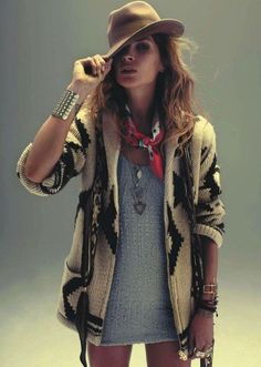 favorite fall trend CABIN-INSPIRED SWEATERS. add a longer oversized navajo sweater to a mini dress this fall!