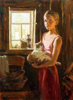 Russian Painter: Vladimir Mullin - ) 'Window Into Summer' Crazy Cat Lady, Crazy Cats, She And Her Cat, Russian Painting, Painting Art, Nostalgic Art, Bengal Kitten, Pretty Art, Beautiful Paintings