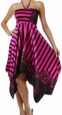 Striped Satin Feel Beaded Halter Smocked Bodice Handkerchief Hem Dress $29.99
