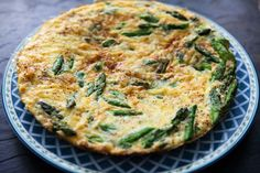 Quick and easy asparagus frittata.  Perfect for spring.  Eggs, Gruyere or Swiss cheese, onion, and asparagus.