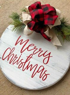 Items similar to Personalized Christmas Door Hanger - Round Christmas Sign on Etsy Christmas Wood, Christmas Projects, Holiday Crafts, Christmas Time, Christmas Movies, Christmas Quotes, Christmas Music, Merry Christmas Signs, Reindeer Christmas