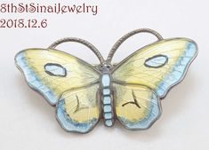 Sterling Silver Jewelry, Antique Jewelry, Butterfly Pin, Norway, Vintage Antiques, Jewelry Watches, Brooch, Facebook, Yellow
