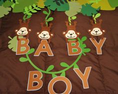 Monkey Decorations, Baby Shower Decorations For Boys, Baby Shower Centerpieces, Baby Shower Themes, Baby Boy Shower, Shower Ideas, Jungle Theme Birthday, Safari Theme Party, Baby Boy Banner
