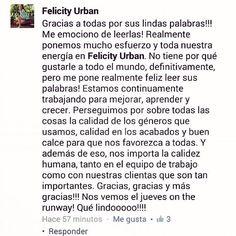 Q clientas, seguidoras y amigas de Felicity difundan su gusto x vestir lo q hacemos no tiene precio!!! Gracias!!!  #chicasfelicity  Felicity Urban