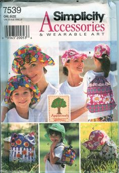 Simplicity Crafts 7539 Appletree hats bags tote backpack sewing pattern UNCUT FF #SimplicityCrafts7539