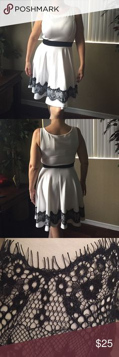 Dressy tank dress NWT White with black frayed lace. NWT Dresses Mini