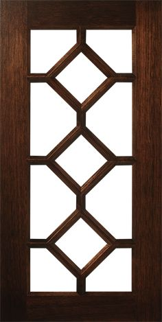 S888 Mullion Frame Door design displays an LP100 Lite Pattern that is 3 patterns high and creates an 11 lite opening. Shown in a warm brown Stain.