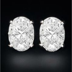 Oval Diamond Stud Earrings D Flawless 2.03 tcw. Signature Ideal Cut  WANT WANT WANT WANT.