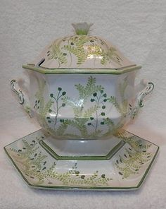 Vintage Green Leaf & Vines Large Soup Tureen with Underplate & Lid Made in Italy