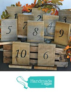 rustic wedding table numbers with stand wedding table number rustic wedding barn wood table number country wedding sign barn wedding decor from Reclaimed Oregon http://www.amazon.com/dp/B01AQUIR9Y/ref=hnd_sw_r_pi_dp_kv-Mwb07J6HD6 #handmadeatamazon