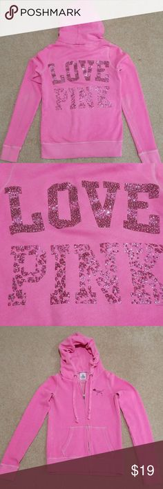 Victoria's Secret Pink Sequined Hoodie XS, Sequined Logo on back, Smoke Free Home, Bundle for Discounts! PINK Tops Sweatshirts & Hoodies