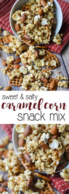A sweet and salty treat that is perfect for snacking on while watching the game or a movie, this caramel corn snack mix is super easy to make in your crock pot! Corn Snacks, Salty Snacks, Yummy Snacks, Yummy Food, Diy Snacks, Night Snacks, Tasty, Snack Mix Recipes, Popcorn Recipes