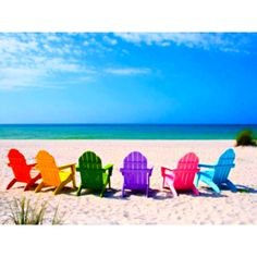 colorful bliss - who says adirondak chairs should be brown :-) Beach Bum, Summer Beach, Summer Fun, Summer Breeze, Summer Days, Summer Time, Tybee Island Beach, Beach Color, I Love The Beach